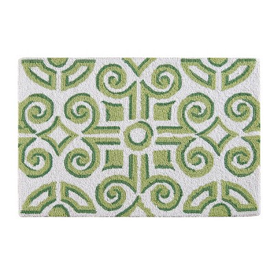 2'x3' Rectangle Hooked Geometric Accent Rug Green - C&F Home