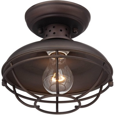 """Franklin Iron Works Rustic Outdoor Ceiling Light Fixture Bronze 8 1/2"""" Caged for Exterior Entryway Porch"""
