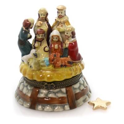 "Hinged Trinket Box 3.25"" Nativity Jesus Birth Christmas Star Religious  -  Decorative Figurines"