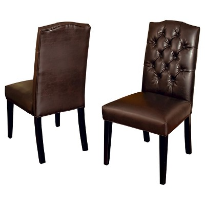 Crown Top Bonded Leather Tufted Dining Chair Brown (Set Of 2)   Christopher  Knight Home