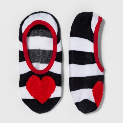 Women's Striped Heart Valentine's Day Socks - Xhilaration™ Black Heather