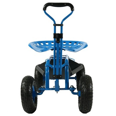 Rolling Garden Cart With Extendable Steering Handle, Swivel Seat And  Planter Basket   Blue   Sunnydaze Decor : Target