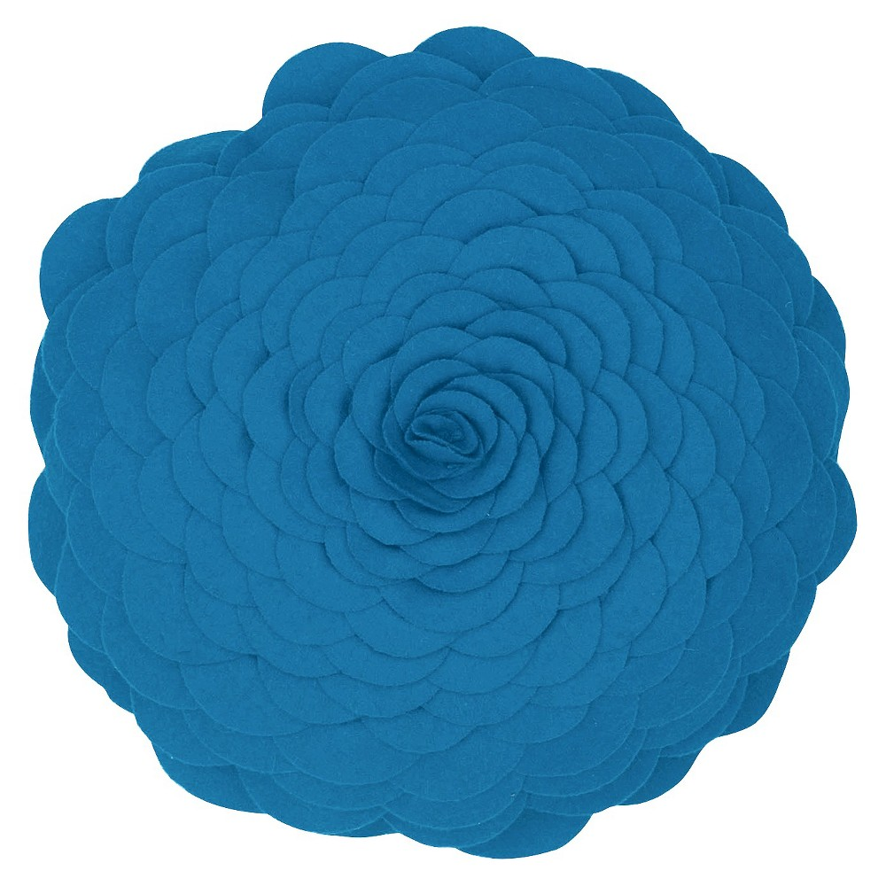 Image of Blue Flower Throw Pillow 14 Round - Rizzy Home