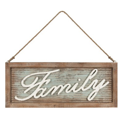 "34"" x 24"" Flanders Oversize Hanging Wall Art - ""Family"" Natural - Kate and Laurel"
