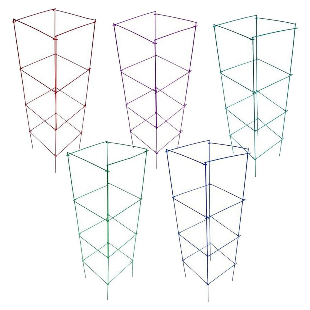 """Image of """"16"""""""" x 42"""""""" Heavy Duty Stackable Square Plant Support 10 Pack - Blazin Gemz Color Combo - Glamos Wire, Blazin Gemz Combo"""""""