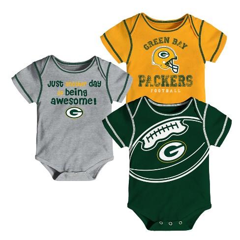 cba90ade3ba Green Bay Packers Baby Boys  Awesome Football Fan 3pk Bodysuit Set ...