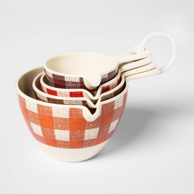 4pc Melamine Plaid Nesting Measuring Cup Set - Threshold™