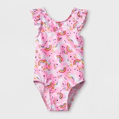 Baby Girls' Unicorn One Piece Swimsuit - Cat & Jack™ Pink 12M