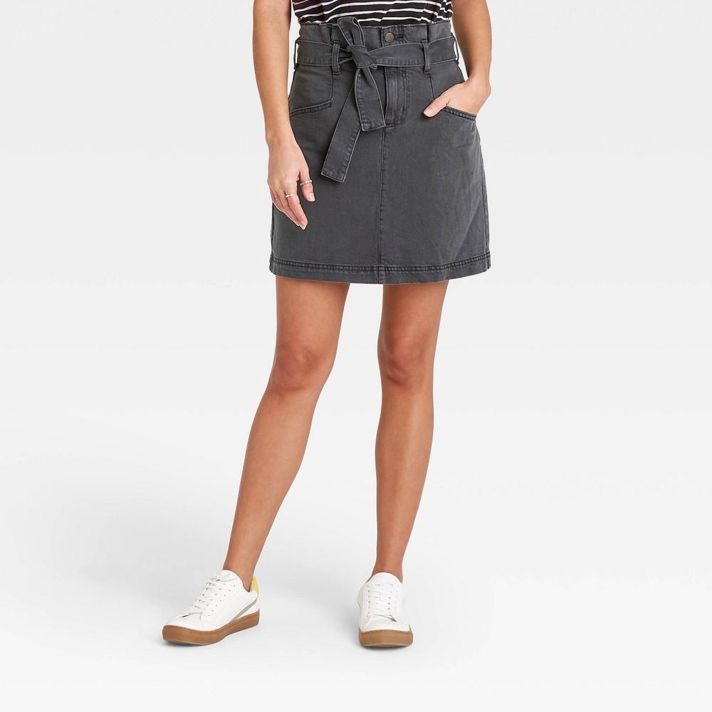 Women 39 S High Rise Tie Waist Denim Mini Skirt Universal Thread 8482 Black 10