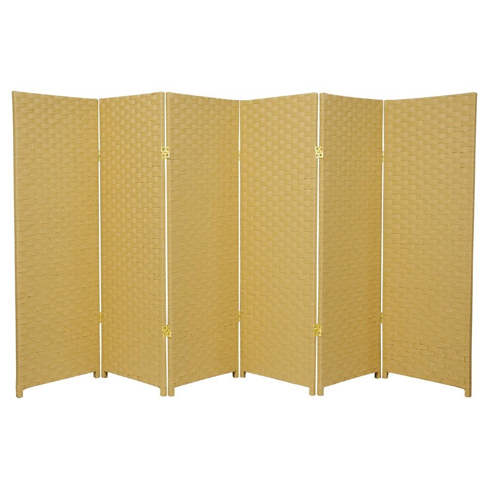4 ft. Tall Woven Fiber Room Divider - Dark Beige (6 Panels) - Oriental Furniture, Medium Beige
