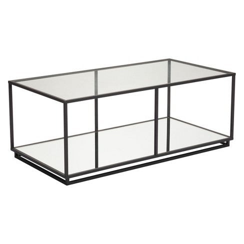 "Modern Glass & Steel Rectangular 48"" Coffee Table Distressed Black - ZM Home - image 1 of 4"