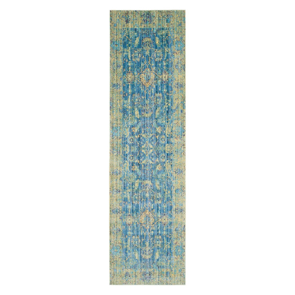 2'3X10' Floral Loomed Runner Blue - Safavieh, Blue/Multi-Colored