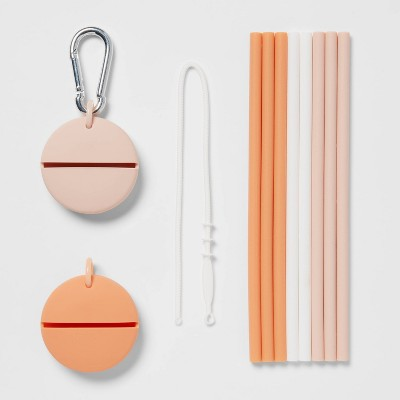 12pc Silicone Straw Set Cool Colors - Room Essentials™