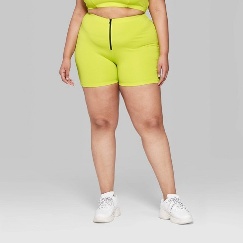 5edaf2a42d Women s Plus Size High-Waist Zip Front Bike Shorts - Wild Fable™ Neon Yellow