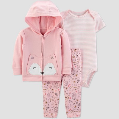 Baby Girls' Fox Cardigan Top & Bottom Set - Just One You® made by carter's Light Pink 3M