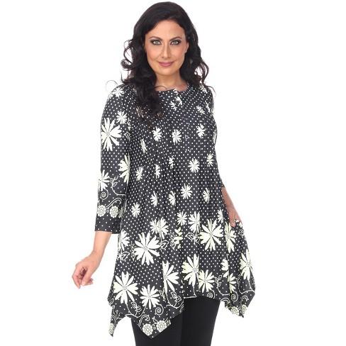 Women's Plus Size 3/4 Sleeve Printed Magdalena Tunic - White Mark - image 1 of 3