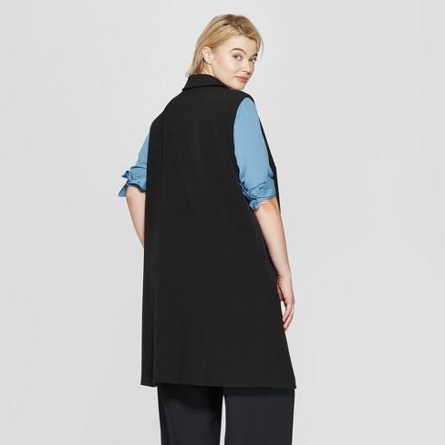 4b63fa6e007d52 Women s Plus Size Sleeveless Open-Front Longline Vest - Prologue™ Black