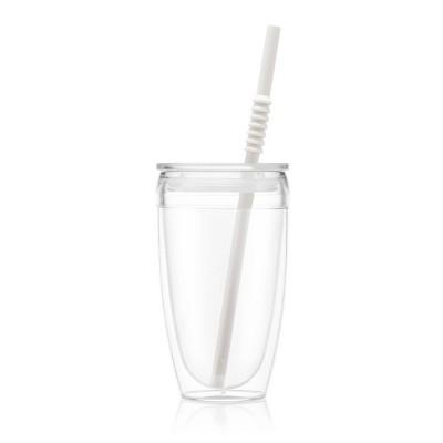 Bodum 13.5oz Pavina To Go Travel Mug Double Wall with Straw Plastic - White
