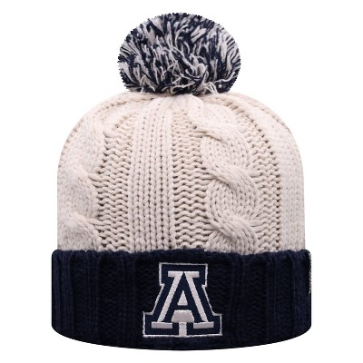 NCAA Arizona Wildcats Women's Natural Cable Knit Cuffed Beanie with Pom