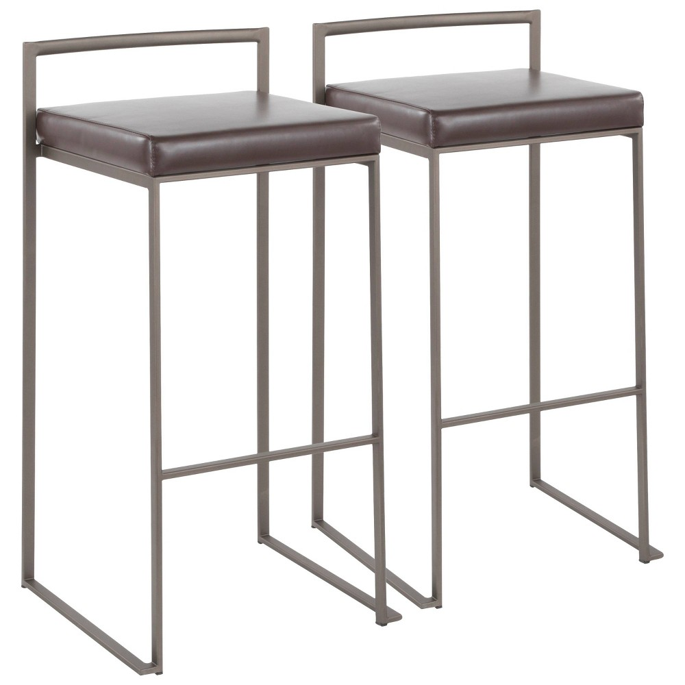 Set Of 2 Fuji Contemporary Glam Stackable Barstools Brown Lumisource