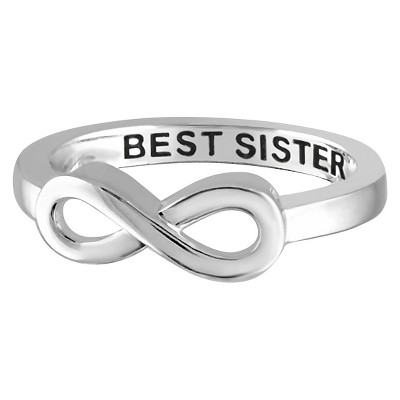 "Women's Sterling Silver Elegantly Engraved Infinity Ring with ""BEST SISTER"""