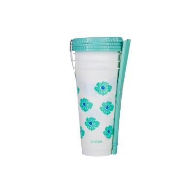 Sustain 24oz 4pk Plastic Reusable Cups - Green Floral