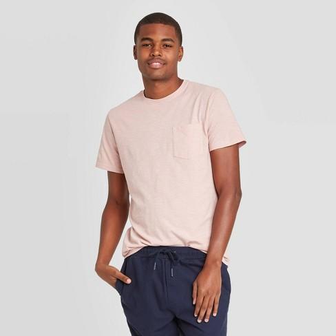 Men's Standard Fit Short Sleeve Slub Pocket Jersey T-Shirt - Goodfellow & Co™ Pink - image 1 of 3