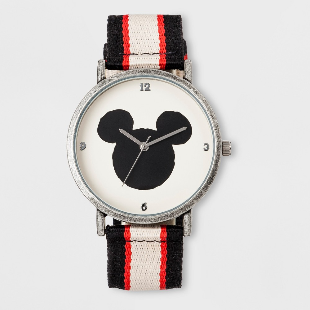 Image of Boys' Disney Mickey Mouse Watch - Black/White/Red, Boy's, Size: Small, Silver