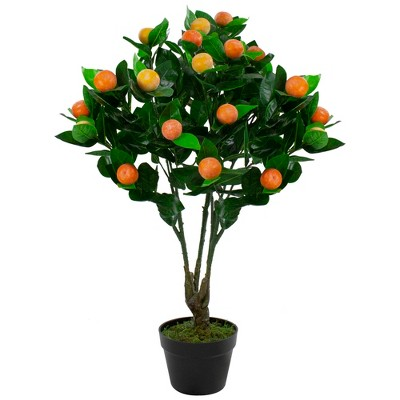 "Northlight 31"" Green and Orange Artificial Citrus Mitis Tree In a Black Pot"