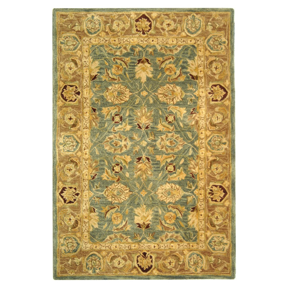 Teal Blue/Taupe (Teal Blue/Brown) Floral Tufted Area Rug 4'X6' - Safavieh