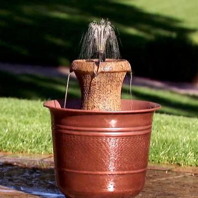 12.5  H Resin Outdoor Fountain - Golden Bronze - Saint Tropez