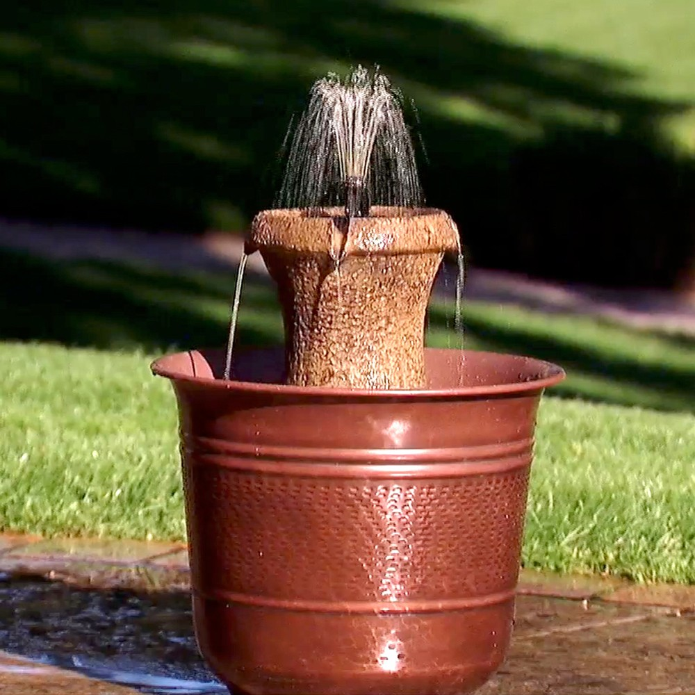 "Image of ""12.5"""" H Resin Outdoor Fountain - Golden Bronze - Saint Tropez, Brown"""