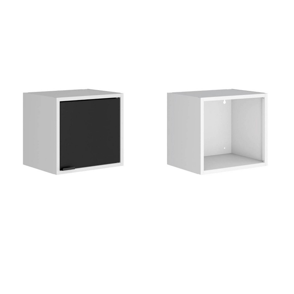 "Image of ""Set of 2 13.77"""" Smart Floating Cabinet and Display Shelf White/Black - Manhattan Comfort"""