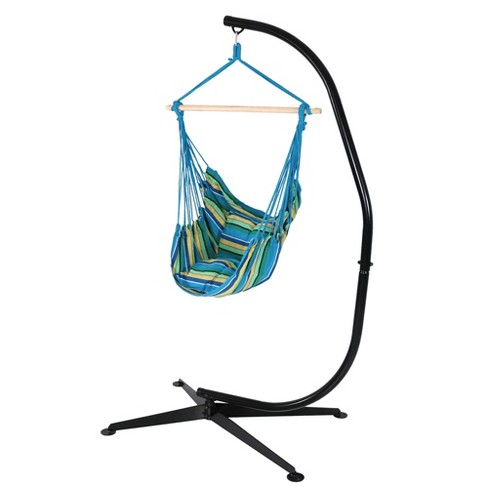 Ocean Breeze Hammock Swing with Pillows and Stand - Blue/Yellow/Green Stripe - Sunnydaze Decor - image 1 of 5