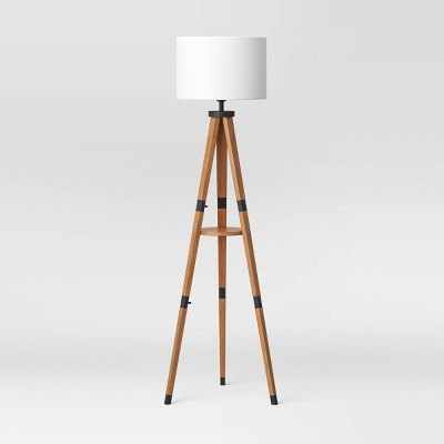 Wood Tripod Floor Lamp with Shelf Brown (Includes LED Light Bulb) - Threshold™