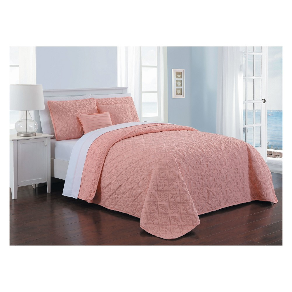 Image of 9pc King Del Ray Quilt Set Coral/White - Avondale Manor, Pink/White