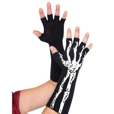 Adult Fingerless Skeleton Gloves Accessory Halloween Costume