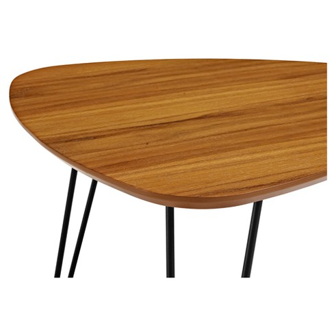 Hairpin leg wood nesting coffee table set walnut saracina home 1 more watchthetrailerfo