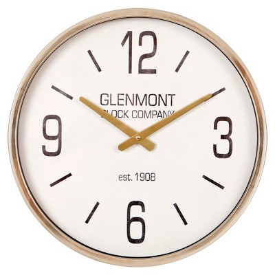 "16"" Glenmont Metallic Wall Clock Gold - Patton Wall Decor"