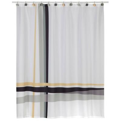 Modern Plaid Shower Curtain White/Gray - Creative Bath
