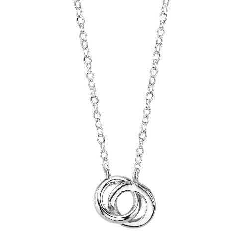 "Sterling Silver Station Necklace Rings - Silver (18.4"") - image 1 of 1"