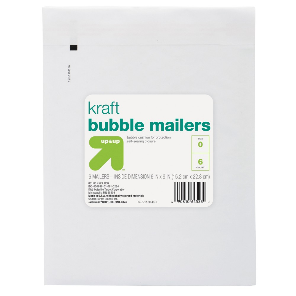 "Image of ""6ct Bubble Mailer 6"""" x 9"""" White - Up&Up"""