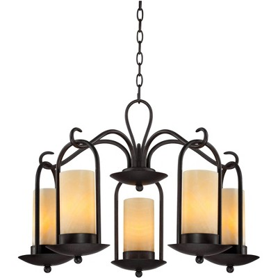 """Franklin Iron Works Espresso Indoor Outdoor Chandelier 30"""" Wide Onyx Faux Stone Candles Glass 5-Light Fixture Dining Room House"""