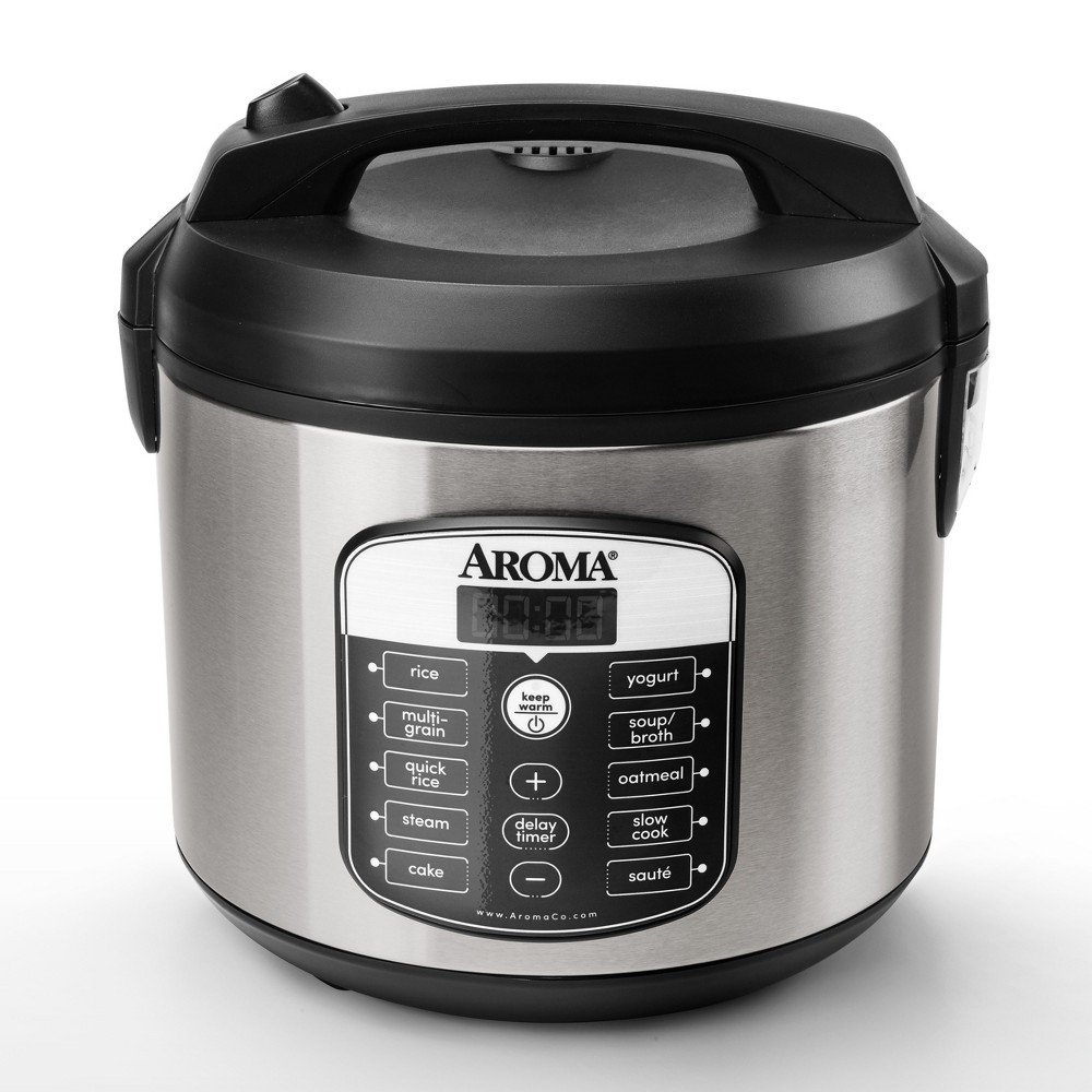 Image of Aroma 20 Cup Digital Multicooker & Rice Cooker - Stainless Steel, Silver