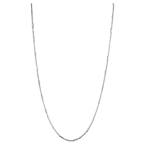 "Women's Necklace Chain Sterling Silver with Station Bar - Silver (18+2"") - image 1 of 1"
