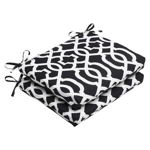 Outdoor Seat Pillow Perfect Square 2pc Cushion - Black/White - image 1 of 1