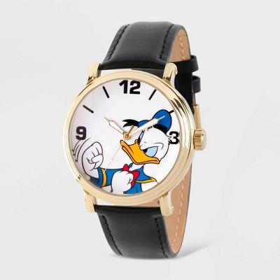 Men's Disney Donald Duck Vintage Leather Strap Watch - Black