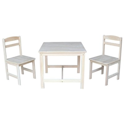 Set of 3 Kids' Table and Chairs Unfinished - International Concepts