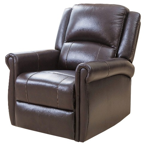 Elena Leather Swivel Glider Recliner Brown Abbyson Living