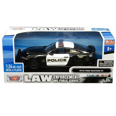 """2018 Ford Mustang GT Police Black and White """"Law Enforcement and Public Service"""" Series 1/24 Diecast Car by Motormax"""